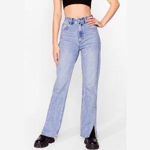 Nasty Gal Split Hem Relaxed Straight Leg Jeans